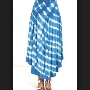 LULU'S Aakaa Blue Tie Dye Midi Skirt Sz L - NWT!